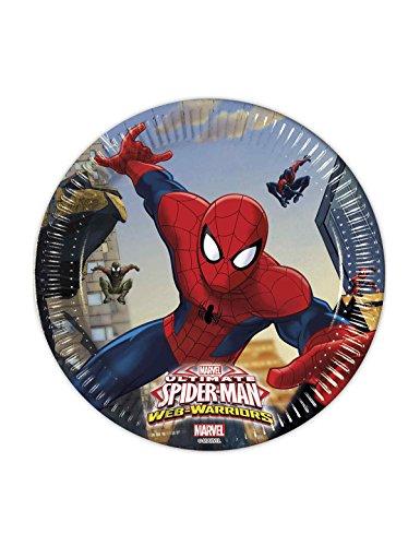 COOLMP 8 Assiettes en Carton Spiderman 20 cm - Taille Unique - Décoration et Accessoires de fête, Animation Festive, Anniversaire, Mariage, événement, Jouet, Cotillon