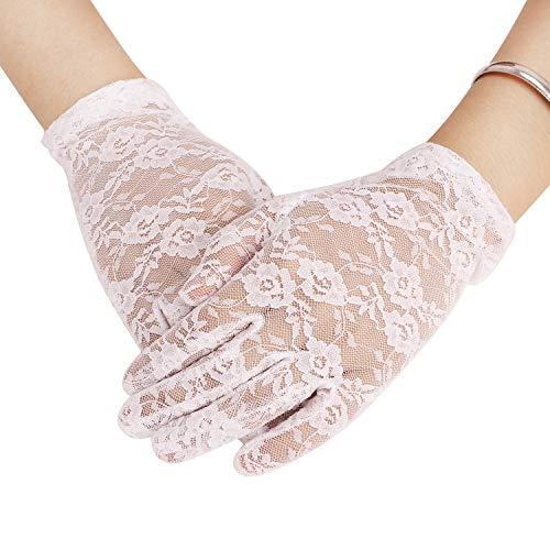 Damen Lace Handschuhe Braut Hochzeit Spitze Touchscreen Gloves Fäustlinge Handschuhe Fahrradhandschuhe Anti-UV Sonnenschutz Sommerhandschuhe für Frauen Opera Fest Party Kostüm Accessoires