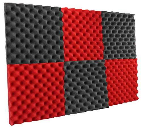 "New Level 6 Pack - Red/Charcoal Acoustic Panels Studio Foam Egg Crate 2"" X 12"" X 12"""