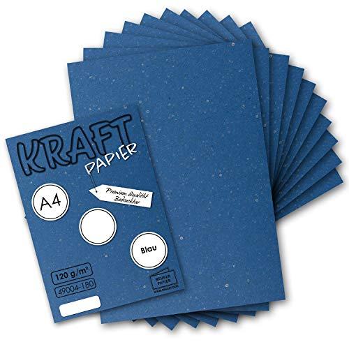 50 Blatt - Vintage Kraftpapier in Blau DIN A4 120 g/m² Blaues Recycling-Papier, 100% ökologisch Brief-Bogen - Briefpapier - UmWelt by GUSTAV NEUSER