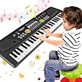 WOSTOO Kids Piano Keyboard, 61 Keys Multi-Function Electronic Kids Piano Keyboard Educational Toy, Rechargeable Portable Musical Electronic Karaoke with Microphone for Kids Girls Boys