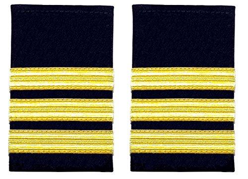 Schulterklappe, 3 goldfarbene Streifen auf Schwarz, für Piloten, Marine, 1 Paar
