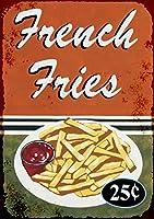 なまけ者雑貨屋 French Fries ブリキ看板 壁飾り レトロなデザインボード ポストカード サインプレート 【40×30cm】
