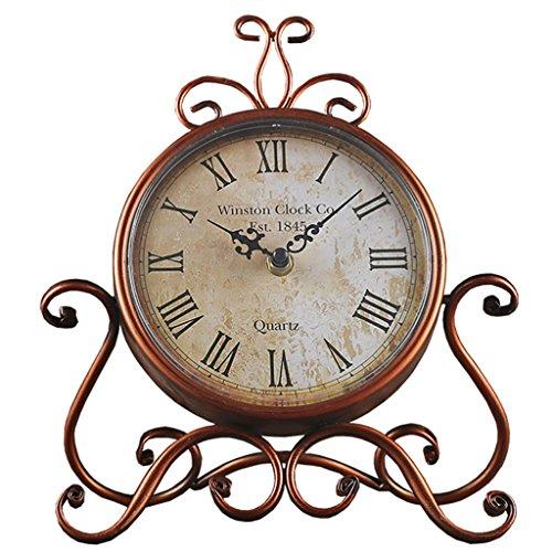 Tafelklok = 6 inch kwartshorloge met open haard, retro-klok voor open haard huis in de open lucht