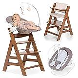 Hauck Alpha Plus Walnut Newborn Set Deluxe - Baby Holz Hochstuhl ab Geburt mit Liegefunktion - inkl. Aufsatz für Neugeborene & Sitzpolster - mitwachsend, verstellbar
