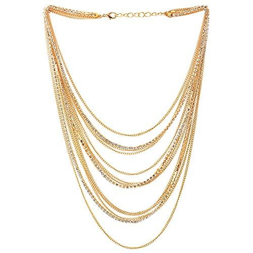 COOLSTEELANDBEYOND Color Oro Cascada Multi Capas Cadena Statement Cuello Collares Colgante con Collar con Rhinestones Cadena Vestir