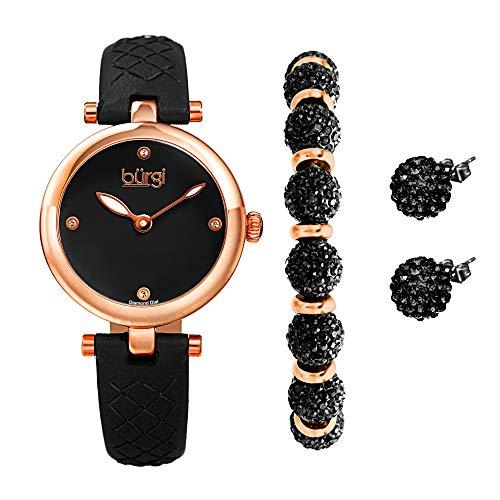 Burgi BUR245 Ladies Gift Set Stylish Watch with 4 Diamond Markers Leather...