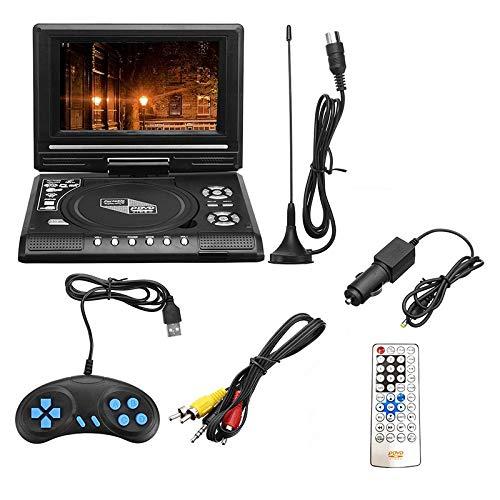 Tiamu 7.8 Inch TV Home Car DVD Player Portable HD VCD CD MP3 HD DVD Player USB Cards RCA Portable Cable Game 16:9 Rotate LCD Screen-US Plug