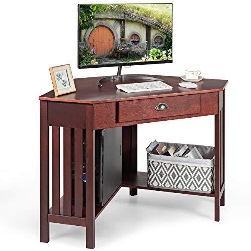 Tangkula Corner Desk, Corner Computer Desk, Corner Writing Desk with Drawer & Shelves, Space Saving Corner Desk, Corner Table for Home Apartment and Office, Reddish-Brown