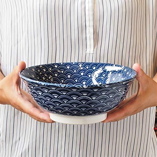 みのる陶器(Minorutouki)ラーメン鉢縁起紋青海波1300ml