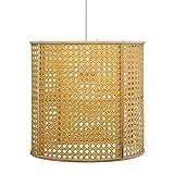 Paris Prix Atmosphera Créateur d'intérieur - Lampe Suspension Cannage Bambou Poésie 28cm Naturel