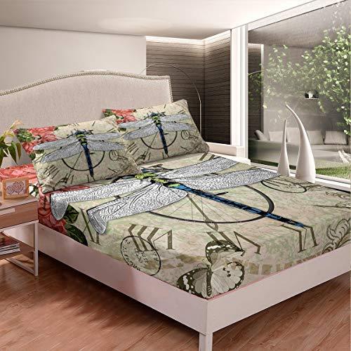 Juego de sábanas bajeras con diseño de libélula, diseño de mariposas, estampado floral, para niños, adolescentes, dormitorio, decoración retro, vintage, funda de cama doble con 2 fundas de almohada