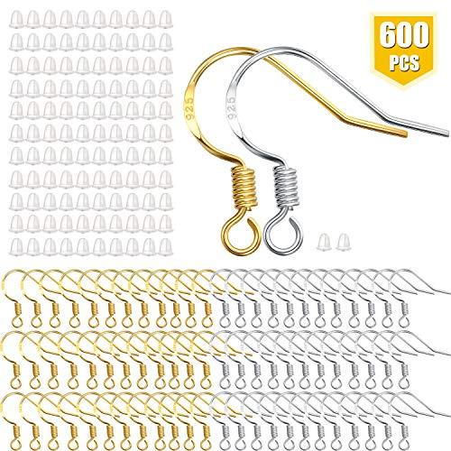 300 Stück Angel Haken Ohrringe Französische Draht Haken in Gold und Silber mit 300 Stück Ohrhaken für Schmuckherstellung DIY