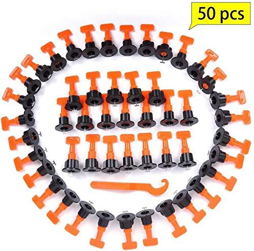 Funmo - 50 Stück Bodenbelag Wand Fliesen Nivelliersystem Kunststoff Clip Verstellbar Locator Spacer Zange Level Wedges Handwerkzeuge Wiederverwendbare Fliesen Nivelliersystem Kit