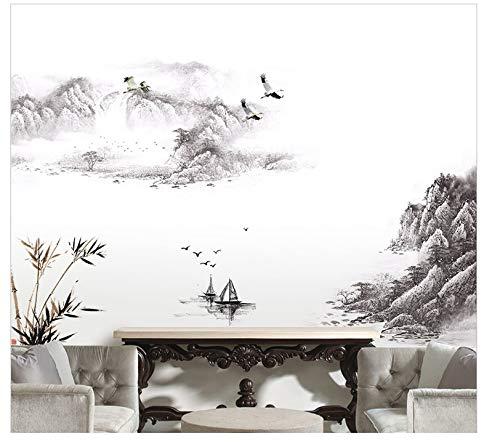 COVPAW® Wandtattoo Wandaufkleber XXL Landschaft Berg Chinesische Malerei Gemälde Wandsticker Wandbild Bilder Wohnzimmer Schlafzimmer Deco