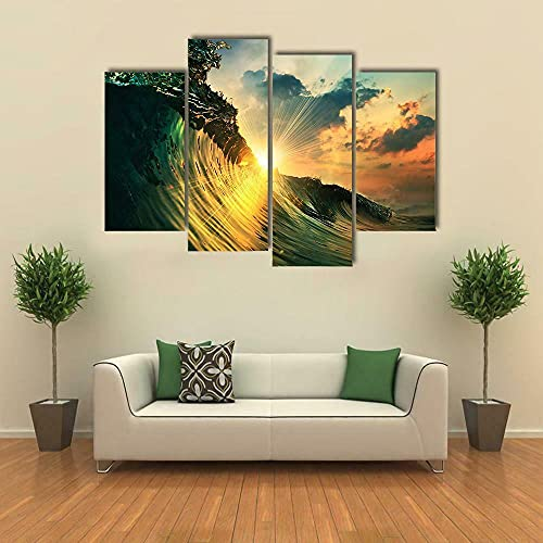 GSDFSD 4 Piece Canvas Wall Art Modern 4 Pieces Rough Ocean Wave in Sunset Canvas Home Deco Art Wall Print Modular Picture,Children's Room Printed Wall Canvas Deco 160X100 Cm