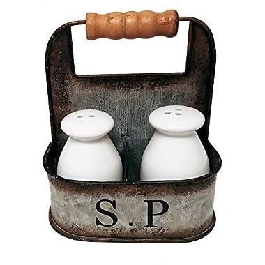 Vintage Kitchen Decor Milk Bottle Salt and Pepper Shakers in Vintage Tin Carrier