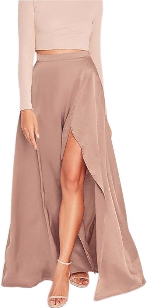 Lisong Women Floor Length Split Satin Prom Party Skirt