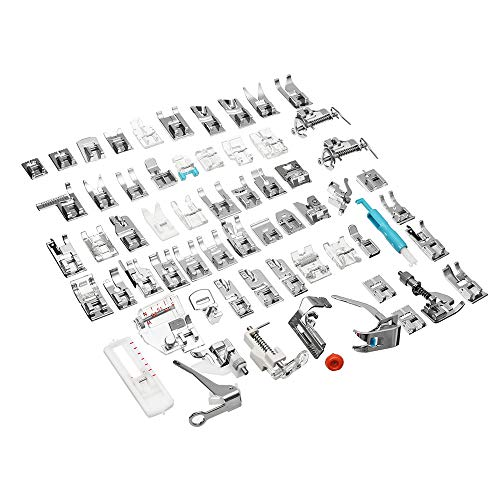 Save %17 Now! LTEFTLFL 62pcs Presser Foot Press Feet for Brother Singer Domestic Sewing Machine Kit