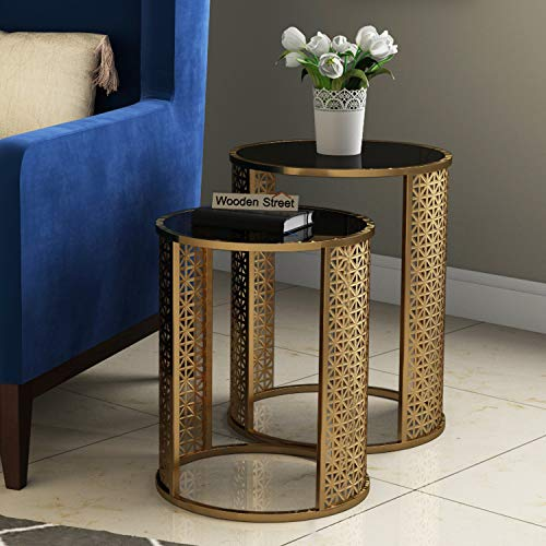 Wooden Street Glass Top Nesting Bedside Corner Tables in Set of 2 for Living Room, Bedroom & Home Decoration