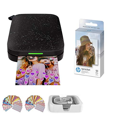 HP Sprocket Photo Printer (2nd Edition) Instantly Print Social Media Photos on 2x3 Sticky-Backed Paper (Black) + Photo Paper (50 Sheets) + USB Cable + 60 Decorative Stick-On Border Frames
