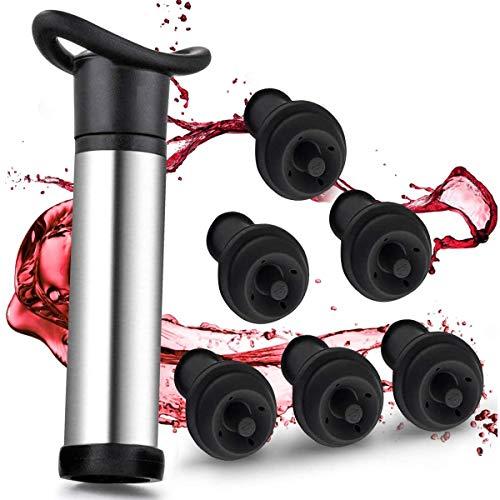 RabbitStorm Tapón para Vino y Vino Tinto Bomba de Vacío, Protector de Vino de Acero Inoxidable con 6 Tapones de Vacío para Botellas de Vino - Materiales de Calidad Alimentaria...