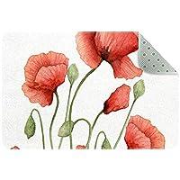 エリアラグ軽量 赤いポピーの花 フロアマットソフトカーペットチホームリビングダイニングルームベッドルーム