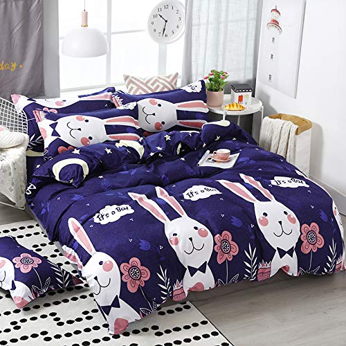 CNNINHAO 4pcs Bedding Set Duvet Cover Flat Bed Sheet Pillowcases, Single Double King Size Duvet Cover Set with Zipper Closure Easy Care Machine Washable (150x200cm,rabbit)