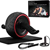 Ab Roller for Abs Exercise Workout Fitness -Ab Wheel Roller with Knee Mat and Jump Rope Resistance...