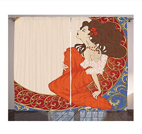 WKJHDFGB Jugendstil Vorhänge Antike Frau In Einem Altmodischen Mittelalterlichen Kleid Mit Blumen Reichen Rahmen Drucken Wohnzimmer Schlafzimmer Fenster 215X260Cm