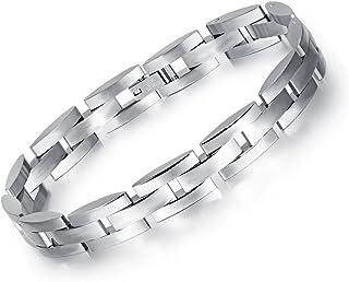 Men Link Chain Bracelets Casual and Sporty Stainless Full Steel Boyfriend
