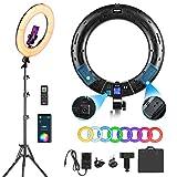 Weeylite 18'' RGB Ring Light Kit,45cm Luce ad Anello LED 360° Full Color 30W 2500K-8500K Dimmerabile con Treppiedi,controllo app,Telecomando wireless per Smartphone Trucco Youtube TikTok Autoritratto