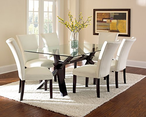 Steve Silver Company Berkley Glass Top Dining Table, 42' W x 72' L x 30' H