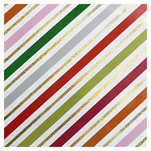 Glitter Peppermint Sparkle Stripe Holiday Wrapping Paper - 15 Foot Roll