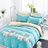 Bed Cover Set Four Piece Set Quilt Cover Pillow Case Bed Sheet Cotton Quilt Cover Student Dormitory 1.5M/1.8M/2.0M Printed Bed Sheet Set