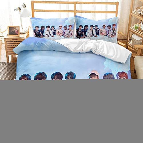 Zyttao Funda nórdica con patrón de impresión 3D de BTS Boy Group, Novio, Novia, la Mejor Ropa de Cama para Decorar el Dormitorio-2_180 * 210cm3 (Piezas)