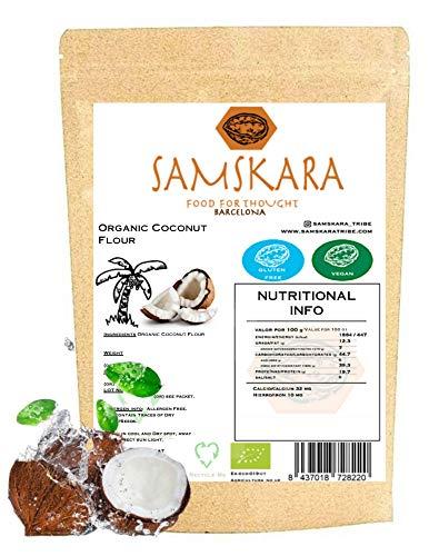 Harina de Coco Crudo Ecologico SAMSKARA SUPERFOODS BIO Organic RAW Coconut Flour   Gluten free baking and Healthy Flour Alternative (1kg)