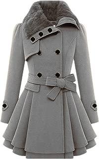 Aotifu 2019 Women's Faux Fur Lapel Double-Breasted Thick Wool Trench Coat Jacket Winter Long Sleeve Overcoat Outwear