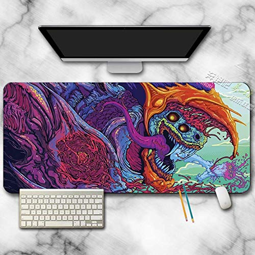 AUYTQ Large Gaming Mouse Pad, Colorful Monster Dragon 70X30 cm with Non-Slip Base,Waterproof and Foldable Pad,Extended XXL Size,Desktop Pad Suitable for Gamers,Suitable for Desktop,Office and Home