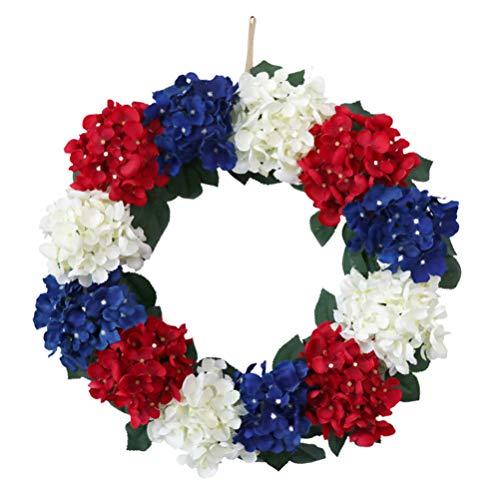 PRETYZOOM 4. Juli Kranz Patriotische Amerikanische Flagge Künstliche Blume Kranz Girlande 4. Juli Haustür Dekorationen Ornamente