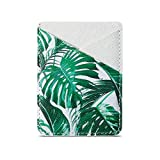 TY-Box Cell Phone Sleeve Card Holder Adhesive Wallet Sleeve 2 ID/Credit Card Slot Pocket Pouch Stick on Smartphone for iPhone 11/SE/XR,Samsung Galaxy S20 Note10 Plus A50 A70 (White Tropical leaves)
