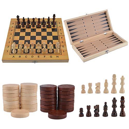 Allright Schach Dame Backgammon inkl. Spielfiguren Holz Spielbrett