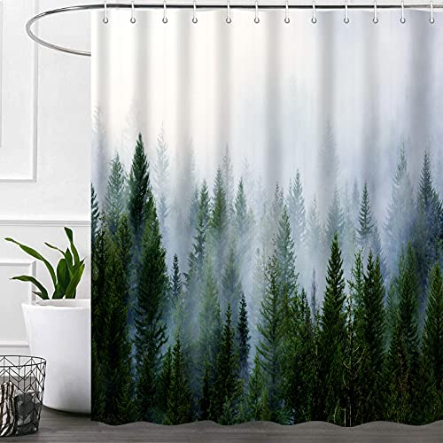 Nature Forest Shower Curtain Bathroom Sets with Hooks 72X72 Inch, Misty Mountain Landscape Fog Pine Trees Bath Curtains, Green Grey Waterproof Polyester Fabric Bathroom Accessories Curtain