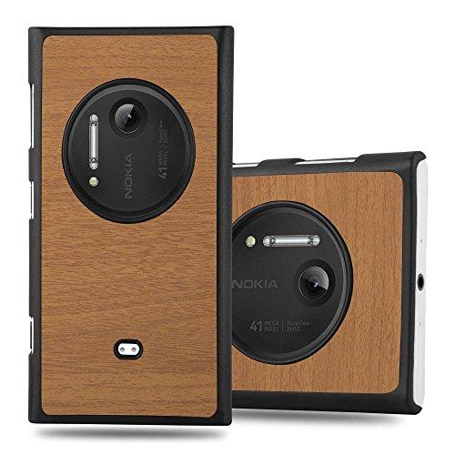 Cadorabo Custodia per Nokia Lumia 1020 in Woody Marrone - Rigida Cover Protettiva Sottile con Bordo Protezione - Back Hard Case Ultra Slim Bumper Antiurto Guscio Plastica
