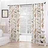 Beige Decor Collection Room Darkened Insulation Grommet Curtain Chic Vintage Styled Graphic with Fancy Polky Dot Umbrellas Heels Purses Trendy Art Home Living Room W72 x L72 Inch Beige Brown