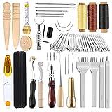 Kit de piel con sello de garra, pulidor de madera, cuerdas de cera, agujas, herramientas y suministros de trabajo de cuero perfecto para coser, punzar, coser, hacer artesanía de cuero