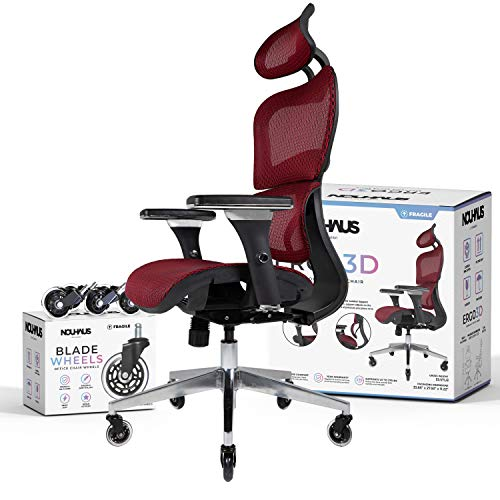 NOUHAUS Ergo3D Ergonomic Office Chair - Rolling Desk Chair with 4D Adjustable Armrest, 3D Lumbar Support and Blade Wheels - Mesh Computer Chair, Gaming Chairs, Executive Swivel Chair (Burgundy)