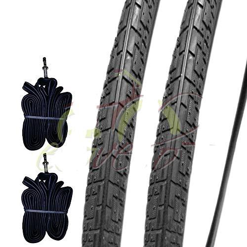 2 COPERTONI 700 X 35 + CAMERE d'Aria Pneumatici Neri 28 1 5/8 3/8 (37-622) per Bicicletta Bici City Bike Trekking