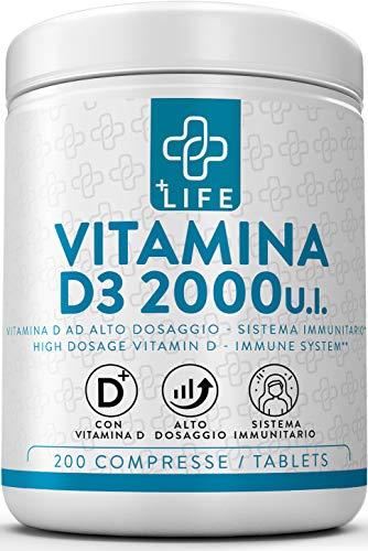Vitamina D3 Pura 2000 UI PiuLife  200 Compresse ad Elevata Concentrazione, Integratore Vitamina D Prodotto in Italia per Supportare le Funzioni Immunitaria, Muscoli, ossa e Denti