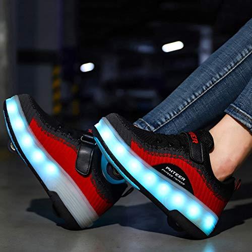 WOFEI Unisex Niños Niñas Led Luz Flash Zapatos De Roller con USB Recargable Automática Ruedas Patines Al Aire Libre Gimnasia Running Zapatillas De Skateboard